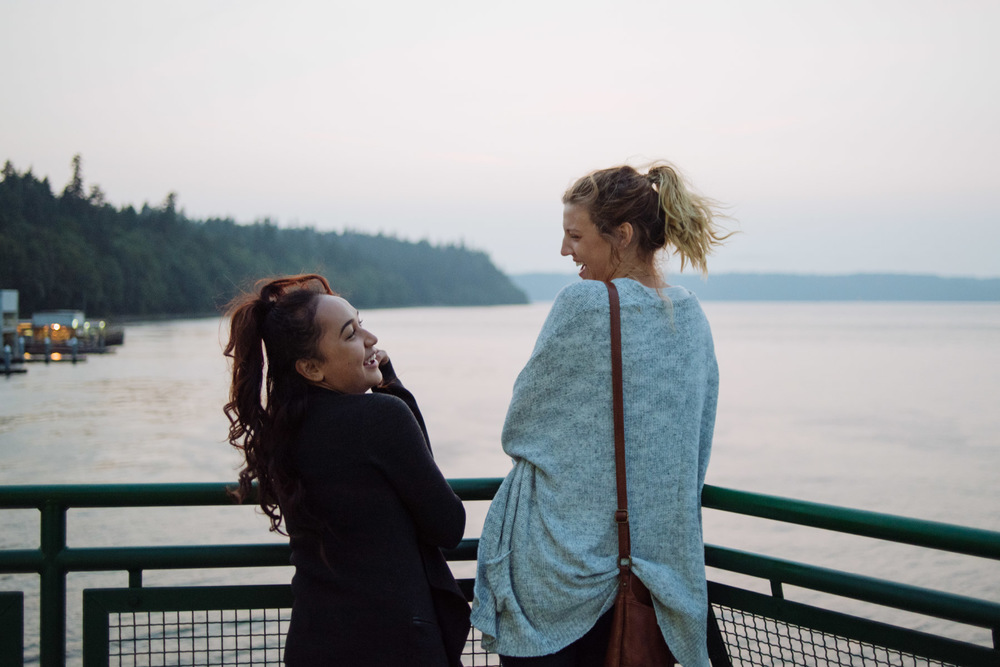 Rosalie and Alex (2015 Intern) on the Tacoma ferry