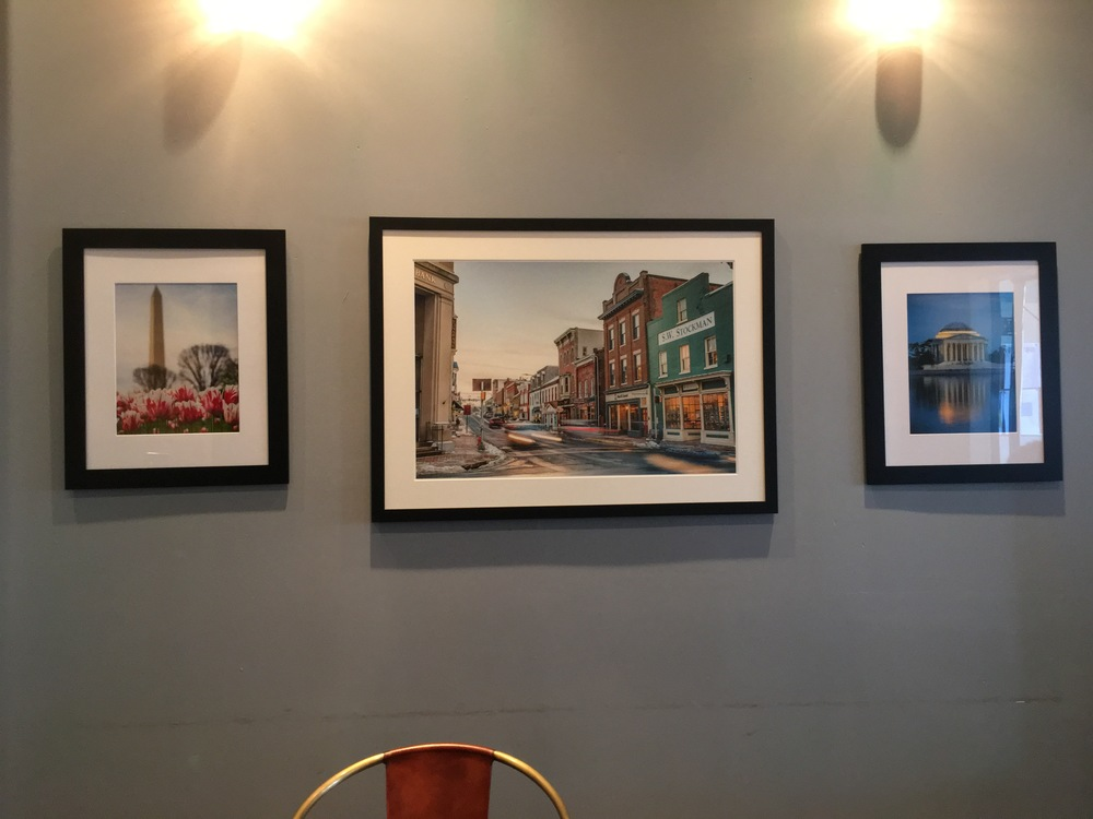 (Left to Right)  Red White and Blue, 19x23 Framed - $150  Historic Streets of Leesburg, 29x39 Custom Framed - $350  Reflections of the Jefferson, 19x23 Framed - $150