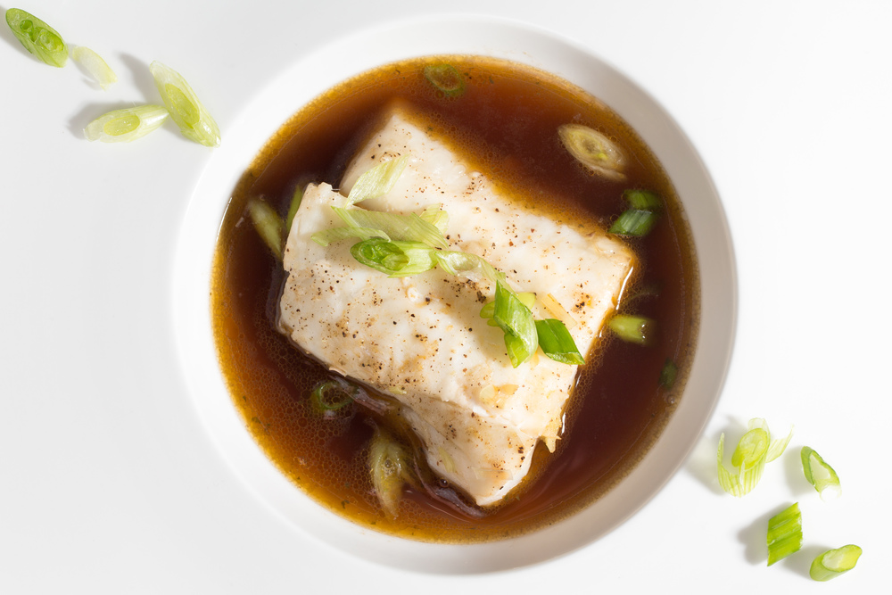Steamed Orange Roughy with Shiitake-Seaweed Broth