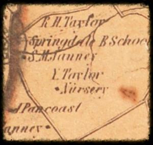 Yardley Taylor's 1853 map of Loudoun including the Quaker community around Goose Creek Meeting.