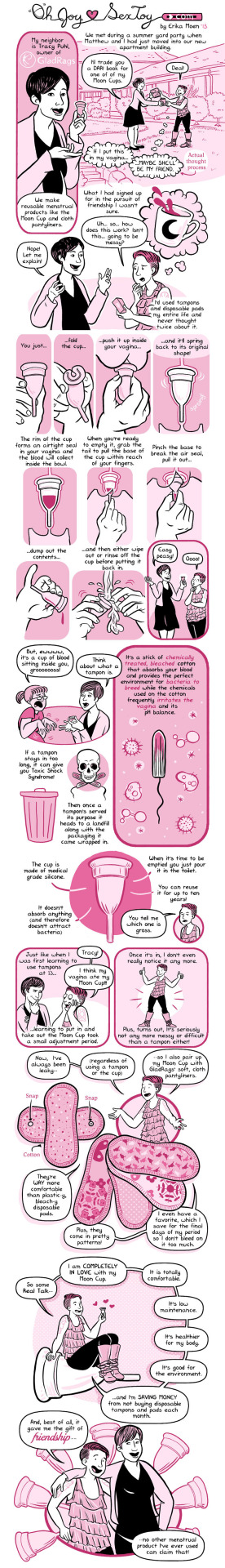 pplm :     Did you know that the average woman uses 300-420 tampons/pads each year? That's a lot of waste!   To celebrate Earth Day, consider switching to an environmentally-friendly option. Click  here  for some ideas!     Have I mentioned that I seriously love my menstrual cup? Oh,  right,  I have.  I also super love this rad comic about using them!  Am tempted to try cloth liners next. They just seem warm and cozy.