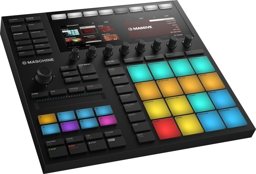 Maschine - PRODUCTION SYSTEMFrom Native Instruments, the Maschine is a fast, intuitive, and fun way to create and perform tracks and beats. This integrated hardware/software system includes sampler, arranger, mixer, FX, and a built-in audio interface.