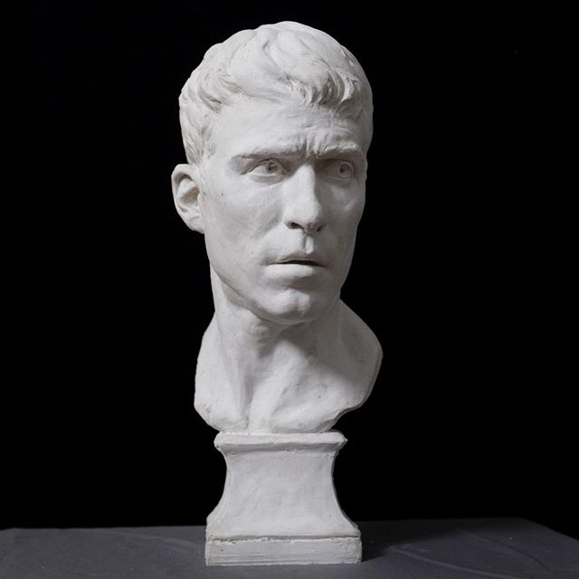 """The other side in plaster - pre patina. You can see the patinated version in London at """"FACE2019"""" with the @societyofportraitsculptors June 3-8. I was selected as part of a group of international artists. I'm honored to participate and I'm grateful to them for bringing us all together. Make sure you apply next year! . . . #sculptor #sculpteur #bust #busto #buste #portraitbuste #portraitbust #portraitstudy #portrait #clay #sculpt #sculpture #sculture #fineart #classicalart #classicalrealism #contemporarysculpture #figuresculpture #figurativeart #academicart  #figurative #sculpting #sculptureoftheday #london #fromlife #sculpturestudio #selfportrait #portraitsculpture #societyofportraitsculptors"""