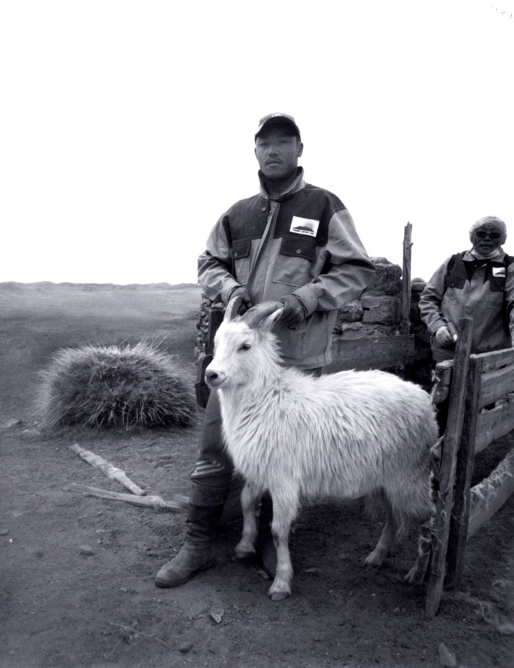Mongolian Herder Stands by a Goat