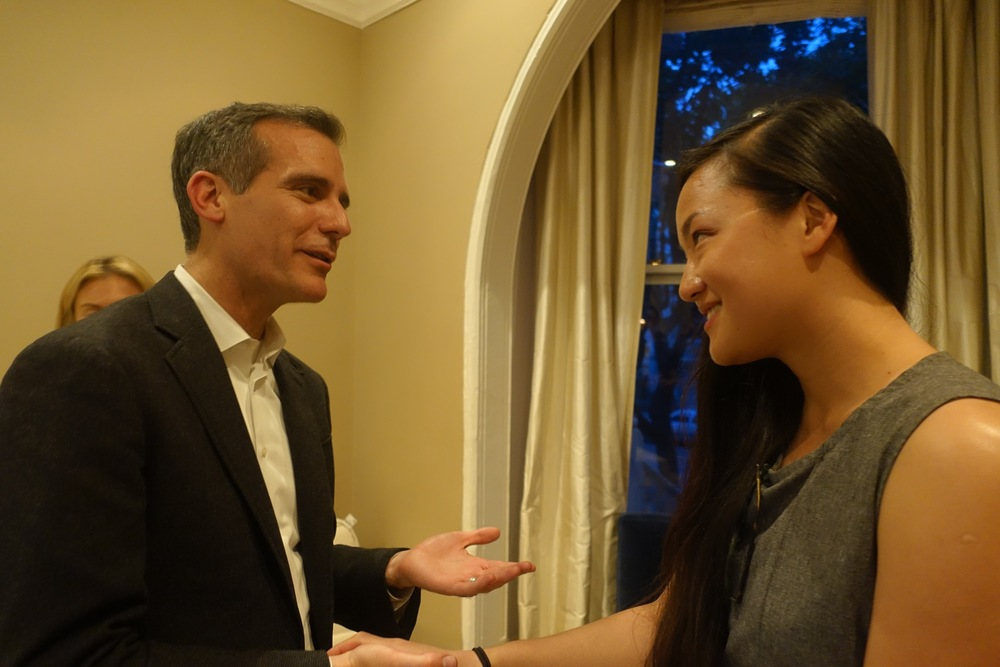 Rebecca Lee and Mayor Garcetti
