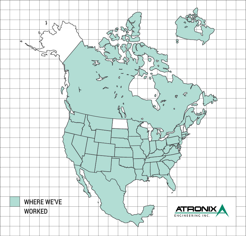 tronix Engineering, Map of United States, Where we have worked, atronixengineering.com