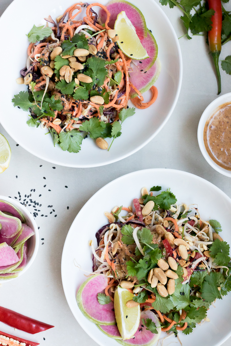 Raw sweet potato pad thai