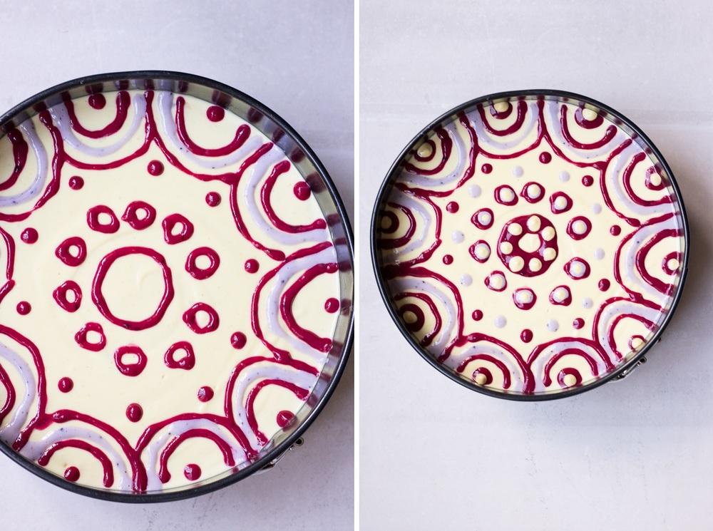 Raw passion fruit swirl cake