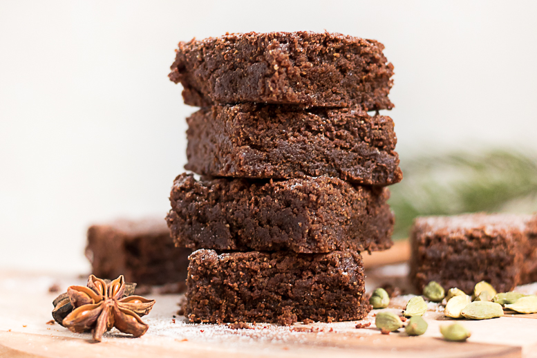 Vegansk & glutenfri pepparkaksbrownie advent