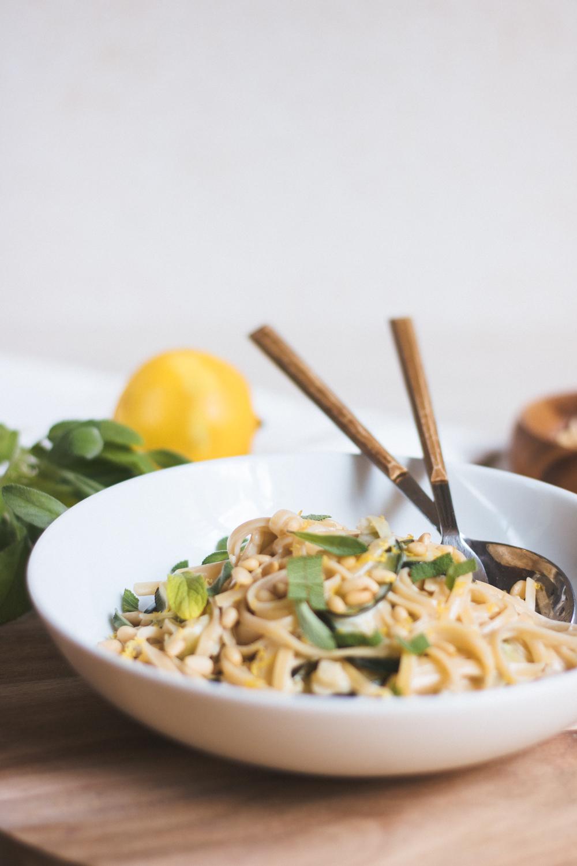 Creamy vegan citrus pasta