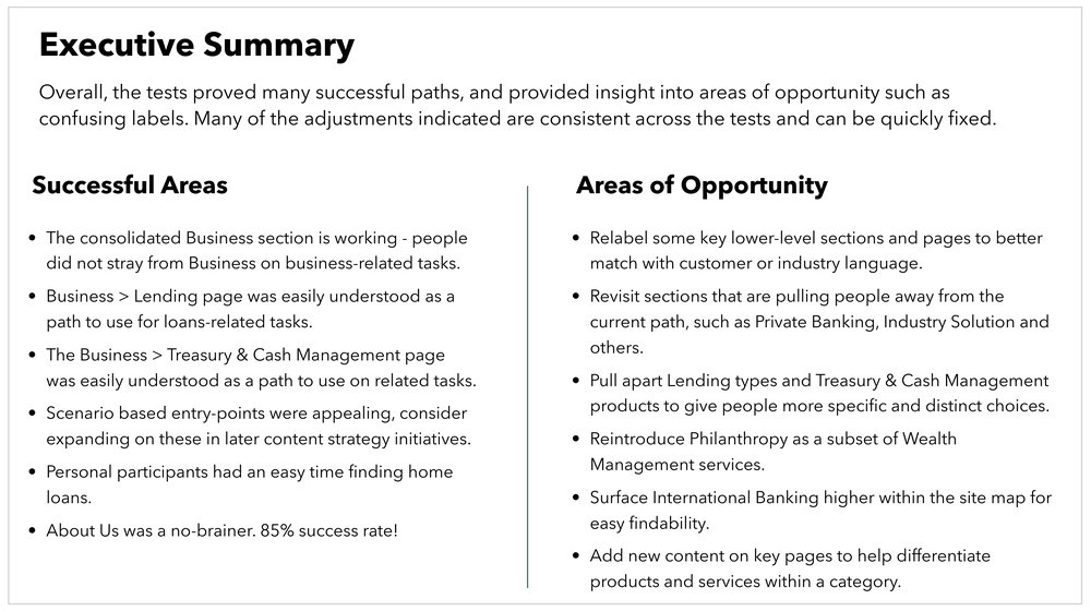 Excerpt: Tree Test Findings document overall executive summary.