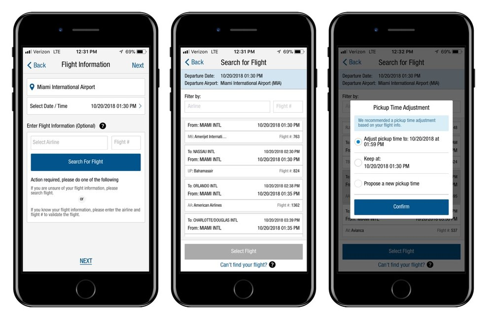 Scheduled Airport Drop-off Flow (part 2/3): Because user is going to an airport, they are prompted to enter flight information for accurate pickup/drop-off time (required for pickup, optional for drop-off). For convenience, users can search for flight, which triggers an API call to display all flights departing from the respective airport within four hours of the designated drop-off time. User selects their flight—a pickup time adjustment option is presented if the pickup time is outside of a 2-hour window.