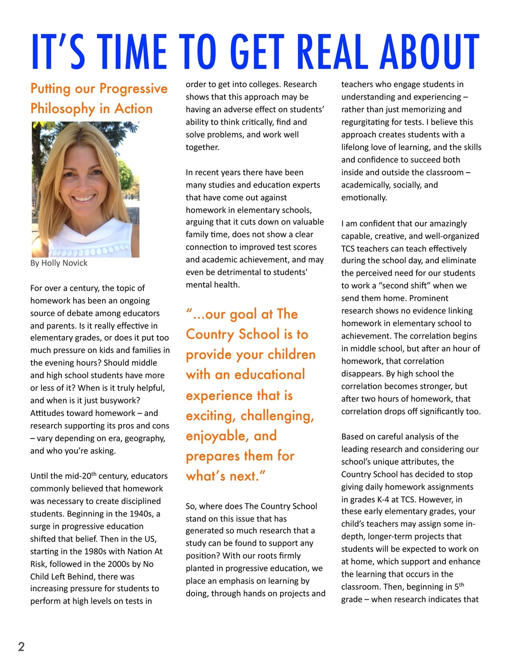 """It's Time to Get Real About Homework"" – Holly Novick's article about our new policy in the TCS Newsletter"