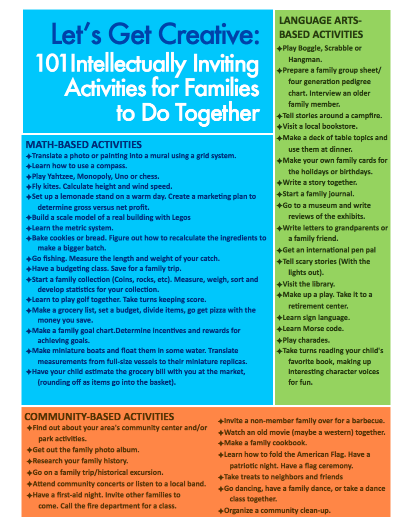 Let's Get Creative! - Everyday activities are full of learning potential. Explore the ways in which you can engage your children's minds during family bonding time