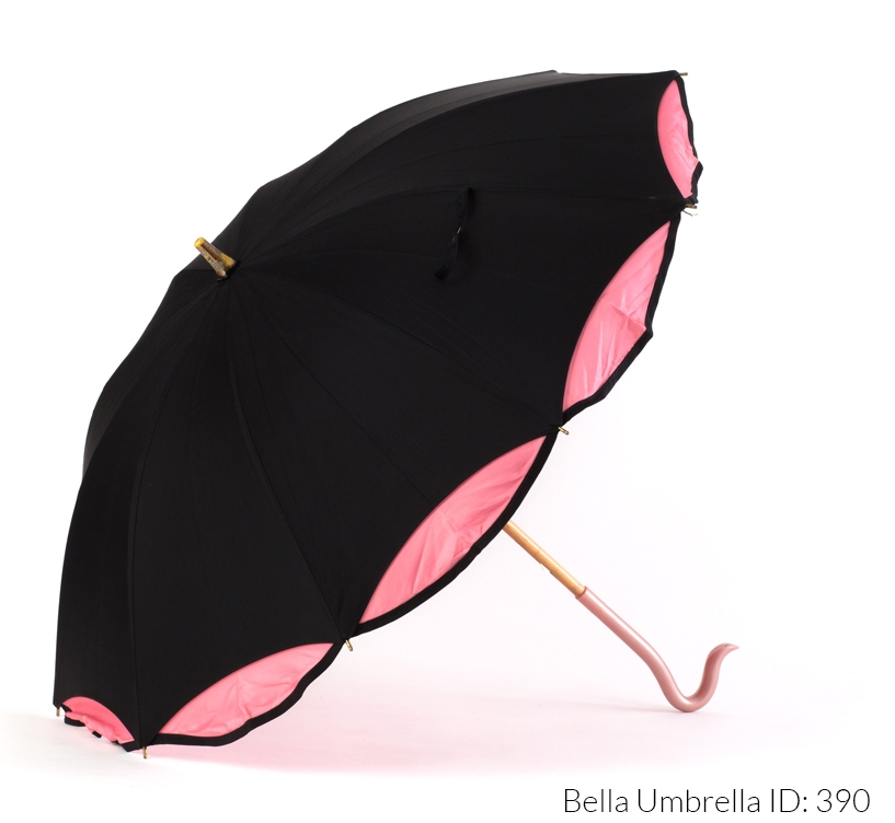 68de97e4d5c739 Umbrella ID 390 | Black Umbrella with Pink Scalloped Edge and Double Layer  | Pink Hook