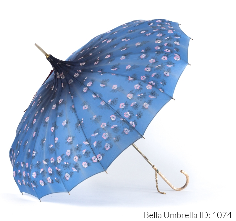 0fb183ab18255f Umbrella ID 1074 | Soft to Deep Blue Ombre Pagoda with Pink and White  Flowers