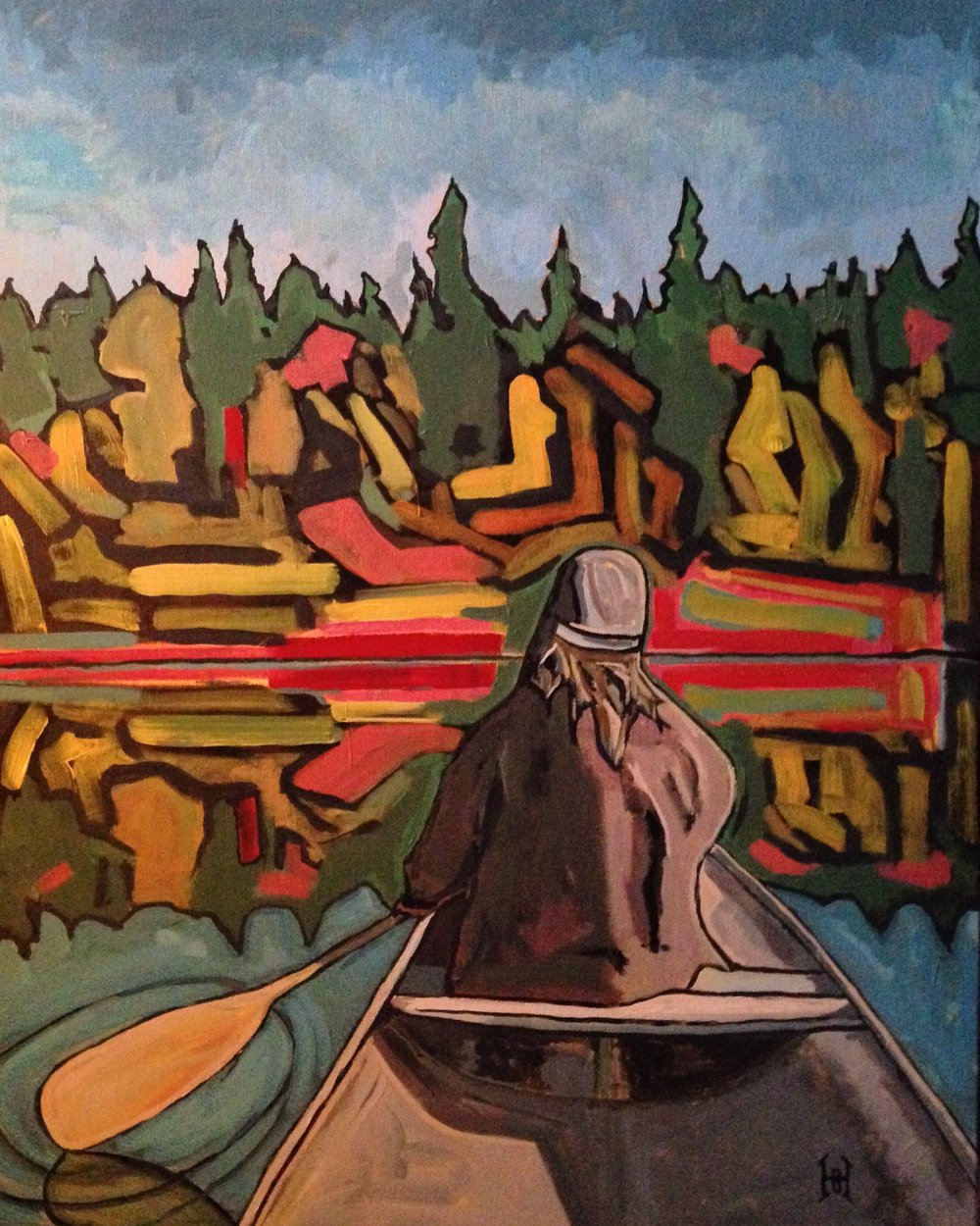 """Fall canoe, singing old spirituals"""