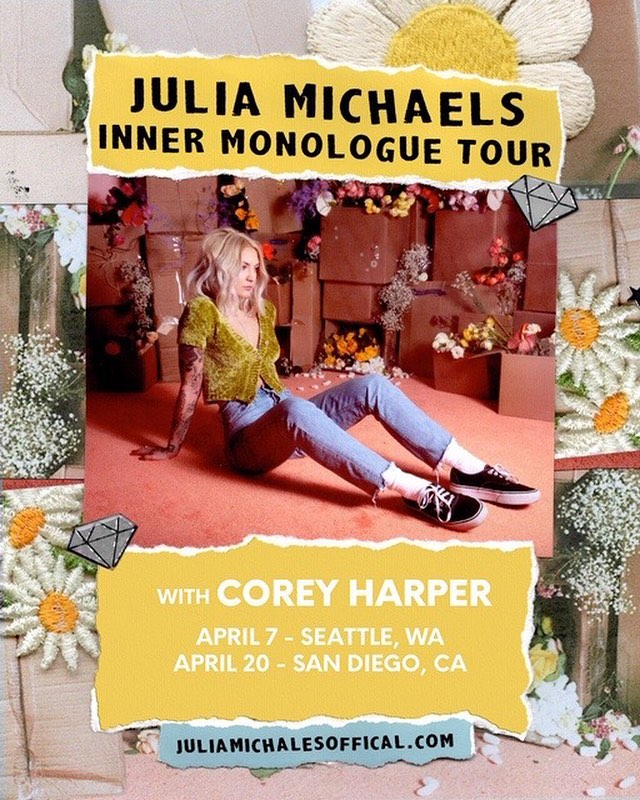 pleased to join the wonderful @juliamichaels on tour for a couple shows in April! honored to be included in such a special tour. tickets on sale now 🌸⚡️
