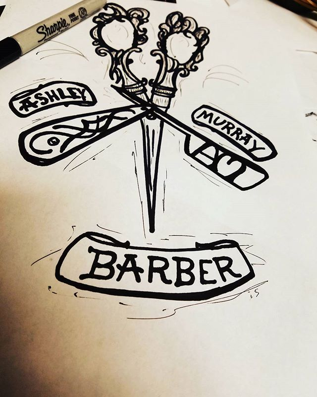 Logo design for my gf's barber portfolio. @ashley_murraay sharpie on parchment. #sketchbook #sharpie #sharpieart #logo #barber #scissors #razor #ink #dallasartist #artist