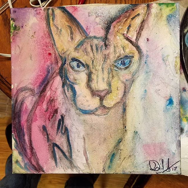 Oliver. -WIP Charcoal and watercolor on canvas. #wip #art #artist #painter #dallasart #dallas #dallasartist  #creativity #abstract #abstractart #paint #painting #implied #color #colors #expression #artlife #supportlocalartists #sphynx #sphynxcat #cat #watercolor #rawdallas #rawartists #raw