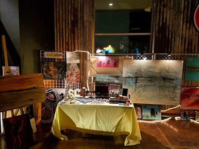 My booth from #rawdallas 2017. Thank you @rawartistsdallas for having me. #dallasartist #artist #artlife #bowtie #art #event #fineart #paint #painting #implied #color #colors #expression #dallas #dallasart #gasmonkeylive