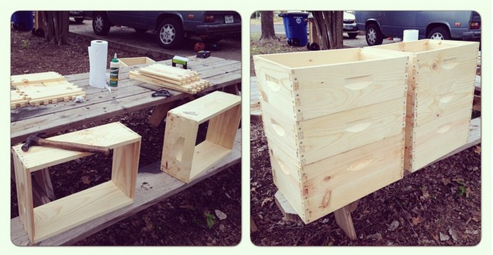 Beehives, pre assemly.  Parts ordered from  Mann Lake .
