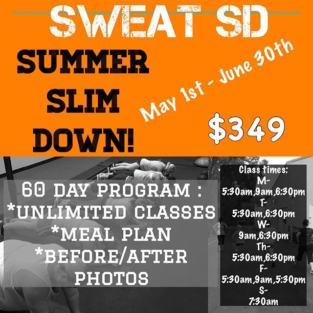 WANNA BE SLIM FOR THE SUMMER?? Starting MONDAY, we are starting a 60 Day Program, with a custom meal plan (YES, CUSTOM FOR EACH PERSON!) and unlimited workouts. The price doesn't get any better, and the time to look and feel your best for #summer17 is NOW! Message or comment below for more details. #sweatsd #sweatfam #weightloss #lamesagym #lamesafitness #lamesabootcamp #sdpersonaltrainer #60daychallenge #SUMMERSLIMDOWN #getleanin2017 #comesweatwithus #mealplans #unlimitedbootcamps #sdbootcamp #lamesabootcamps