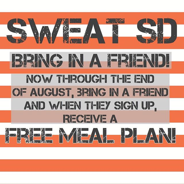 Now through the end of August! Bring in a friend! Get a free meal plan!!!! Hold each other accountable and hit YOUR GOALS! #sweatsd #sweatwithabuddy #summerbodygoals #sdfitness #sandiegofitness #lamesabootcamp #sdbootcamp #lamesapersonaltraining #lamesaprivatestudio #lamesatrainer