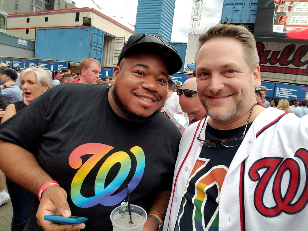 "Dale and Lamar enjoyed attending ""Night OUT at Nationals Park"" on June 5, just one of many Pride celebrations this month in DC"