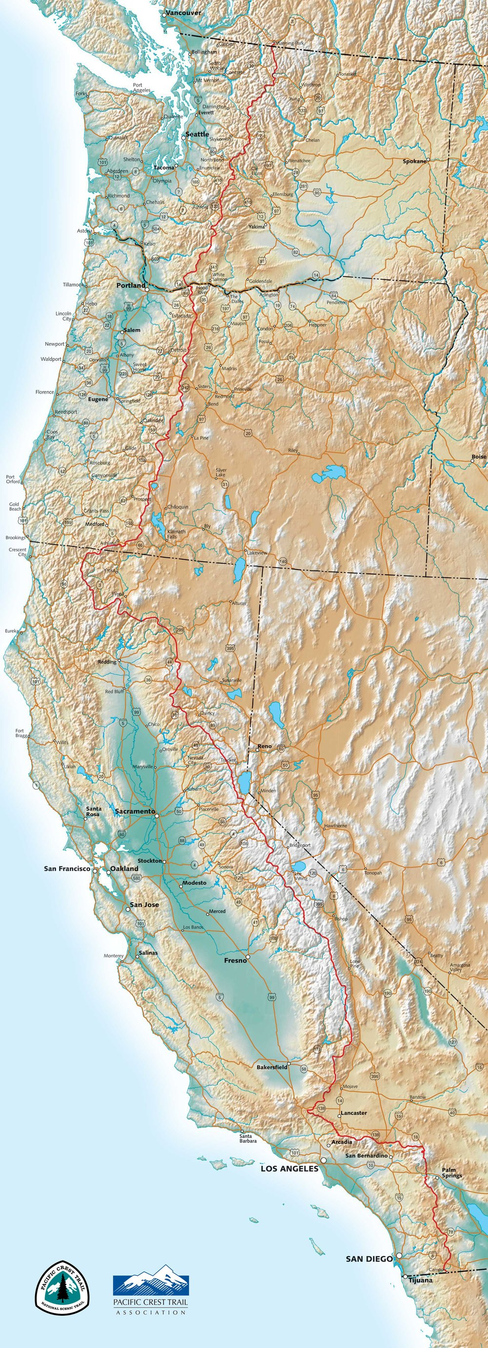 Map From:  P  acific Crest Trail Association