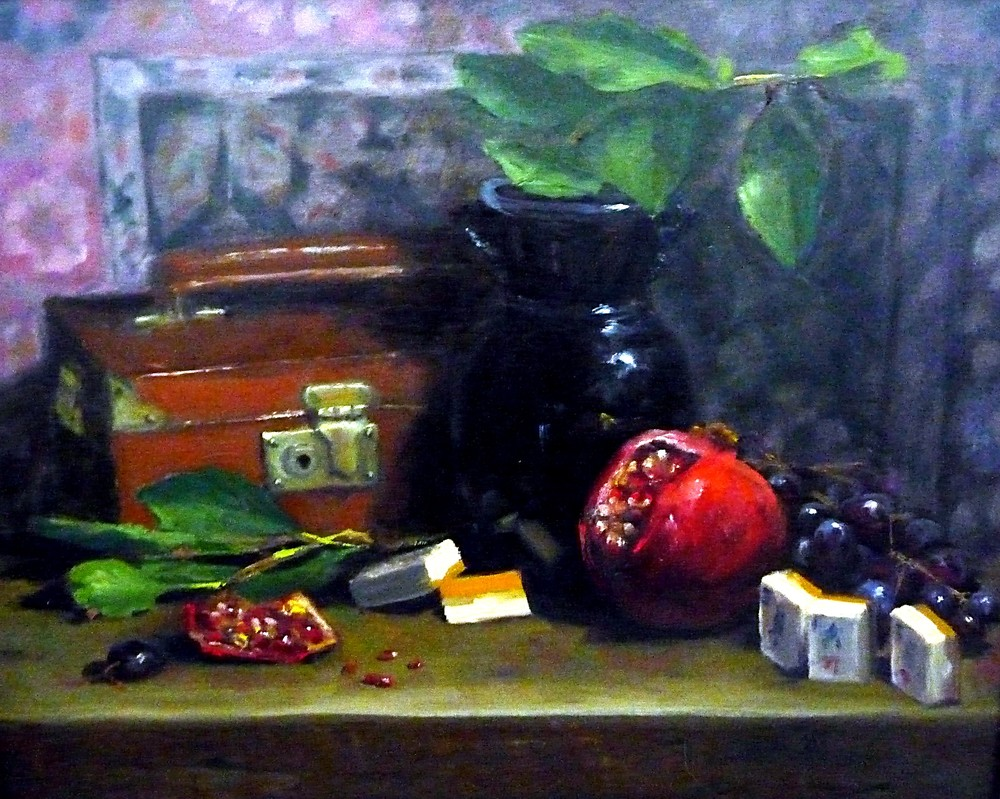 Mah Jong Still Life with Pomegranate- Copyright 2006