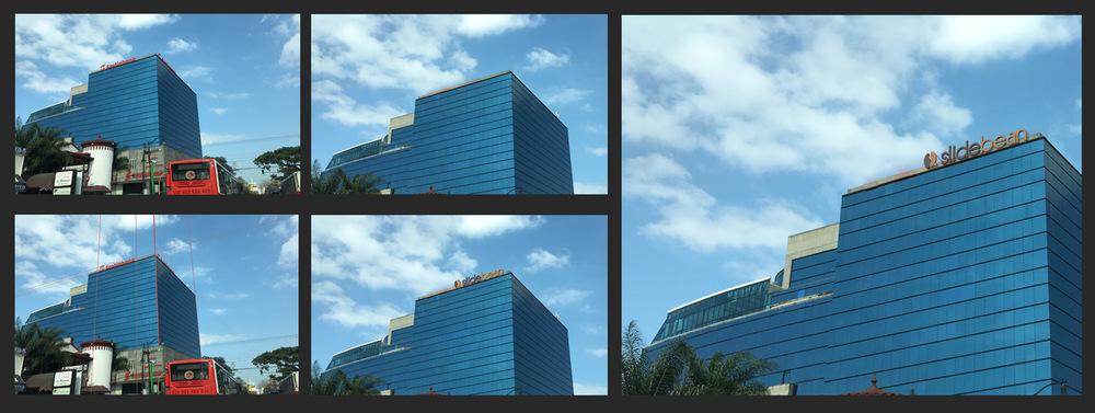 Proceso de Photoshop para reemplazar el rótulo de Scotiabank.