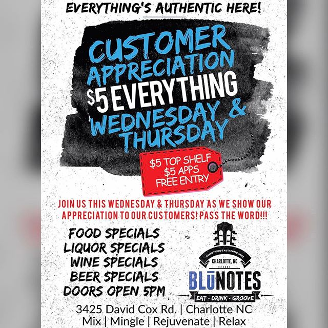 #today and #tomorrow - an exclusive invite for our patrons! Come out and enjoy a $5 bar and $5 apps!!! Will have 90s and early 00s music playing all evening - see ya tonight! #cltbars #clthappyhour #cltfood #cltnoms #cltdrinks #cltsingles #cltdatenight #charlotteclubs #charlotte #charlottesgotalot