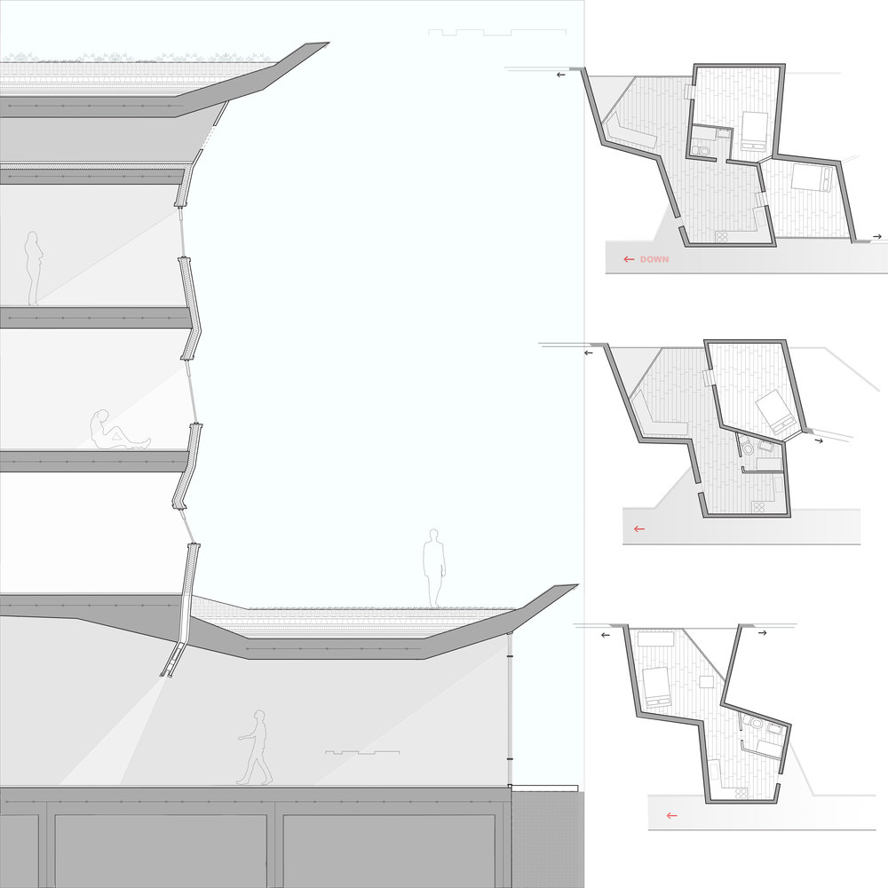 CLOSE UP FACADE SECTION AND UNIT TYPES