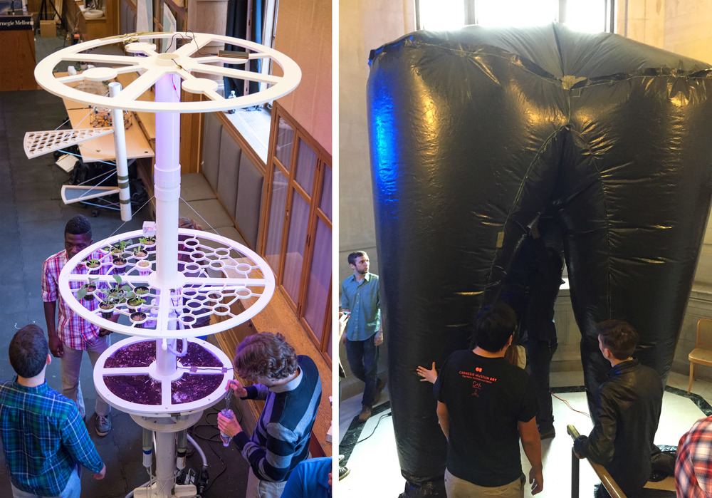 Full scale prototypes of three pronged skin, and solid interior habitat structure