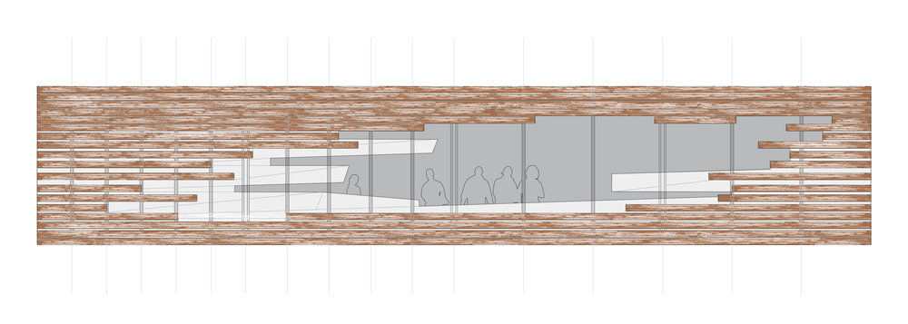 FACADE ELEVATION STUDY OF SLAT AND METAL FRAY AND TEARING