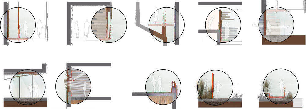 MATERIAL MOMENT STUDIES OF BUILDING AND RIVERFRONT: CLICK IMAGE FOR LARGE VIEW