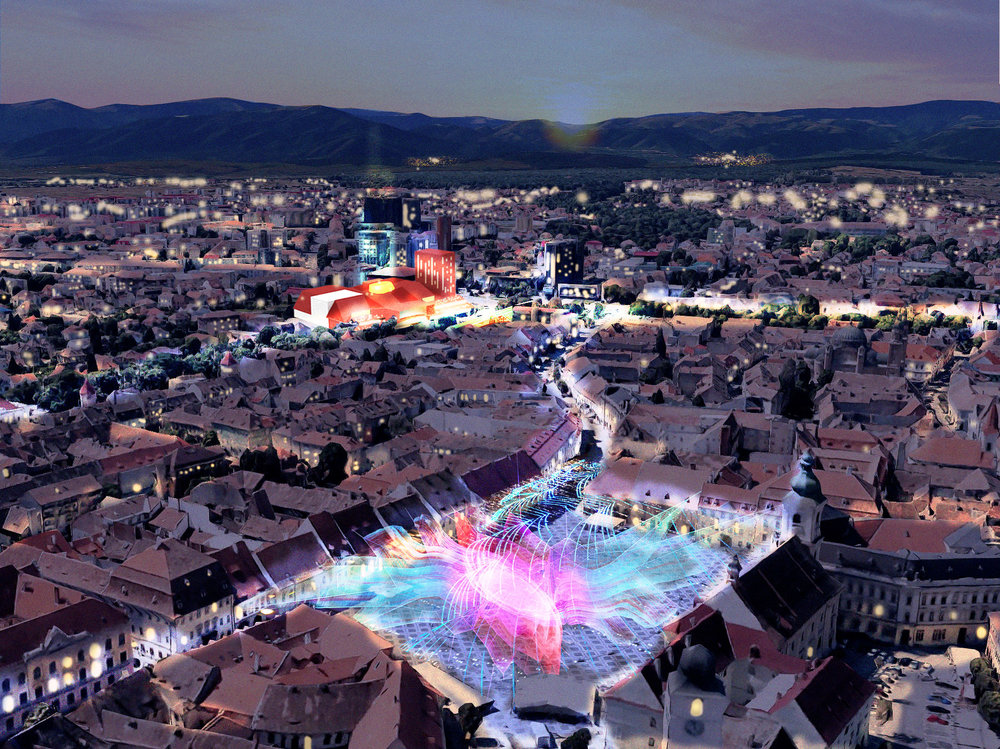THE BASTION: Night Visualization During Festival Performance Time: Overview from Historic Center of Sibiu, the Piata Mare