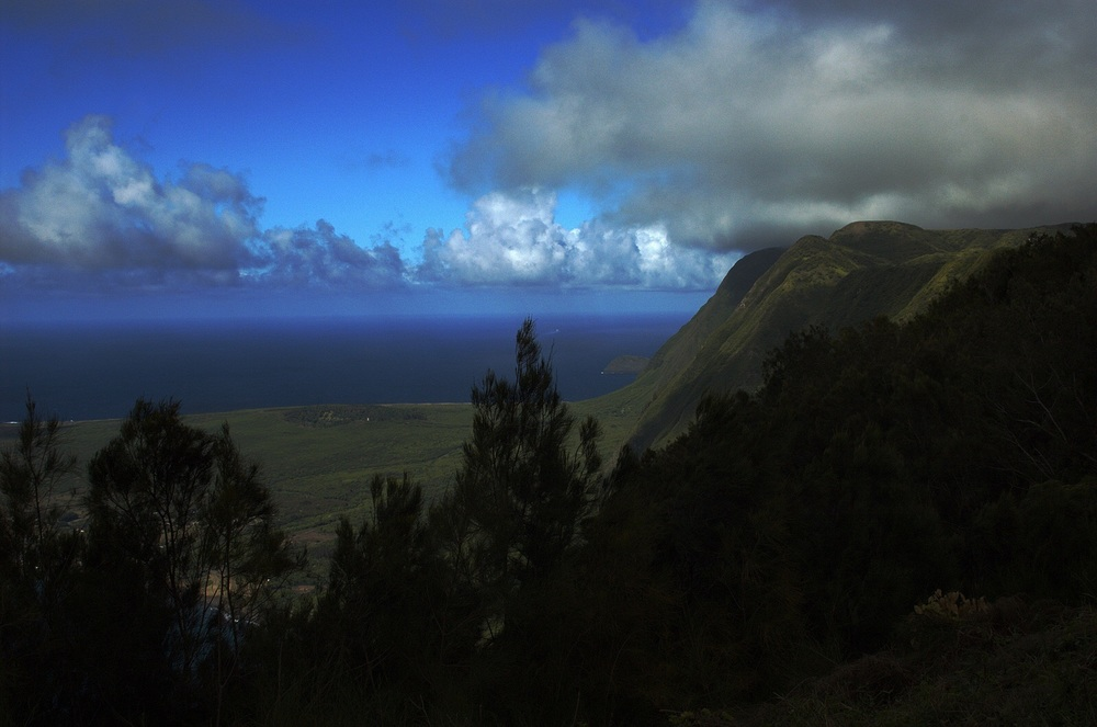 The sea cliffs of Molokai rise dramatically over the Kalaupapa Peninsula.