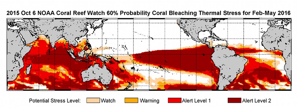 NOAA forecast map of coral distress.