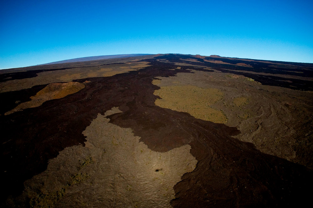 High above old lava flows of Mauna Loa