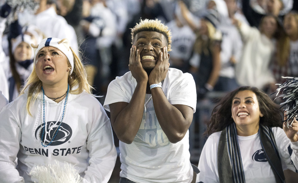 Penn State fans reacts after a touchdown is almost scored during the game against Iowa at Beaver Stadium on Saturday, Nov. 5, 2016. The Nittany Lions defeated Iowa 41-14.