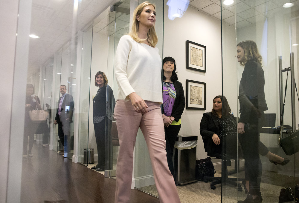 Ivanka Trumps walks in with administrator Linda McMahon for a roundtable discussion with small business owners of Pittsburgh on Tuesday, Feb. 13, 2018 in Mt. Lebanon.