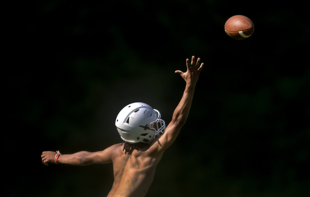 Riverside's LeMarcus Cleckley reaches to catch the ball during a summer practice on Wednesday, July 11, 2018, at Riverside High School.