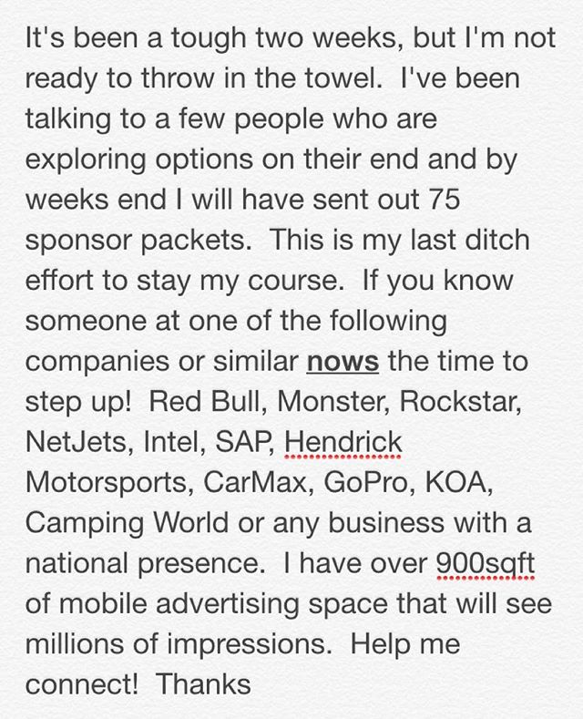 This is a very serious inquiry.  Seeking one proactive philanthropic company seeking national advertising via over 900sqft of mobile advertising space traveling the country on a charity tour.  I had a sponsor pull out which could end the tour but I'm not ready to give up.  Be a part of something epic and get millions of impressions for a fair investment.  #charity #corporate #fortune500 #giveback #marketing #advertising #mediablitz #nationaltour #mediabuyer #marketingmanager #promotions #sponsorship #50states