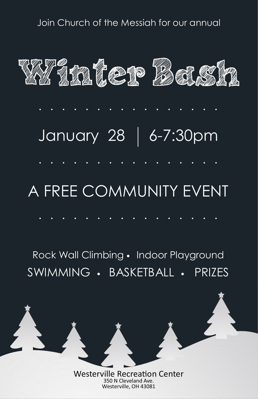 Join us for a FREE night at the Westerville Rec Center for swimming, rock wall climbing, basketball, and prizes!  Bring your family, friends, coworkers, and neighbors.