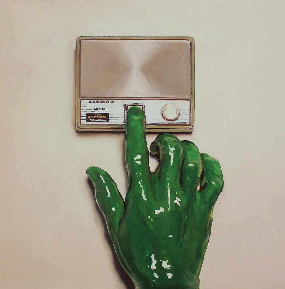 "Album Cover Painting ""Green Examiner #1"": Taylor Kubicek"