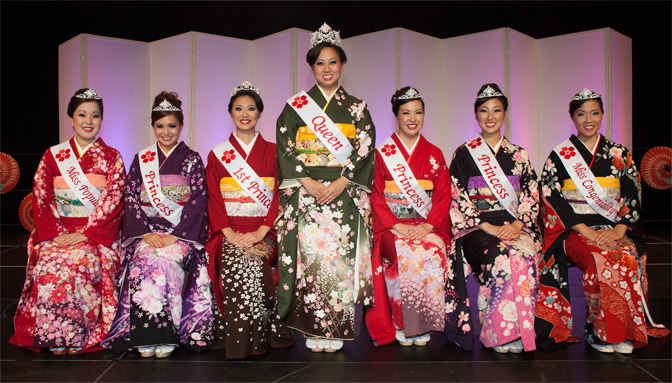Left to right:  Miss Popularity Ashley Higa, Princess Misha Maletta, First Princess Lori Higashi, Queen Crystine Ito, Princess Kellene Sasano, Princess Leila Mitsunaga and Miss Congeniality Eryn Kawamoto.