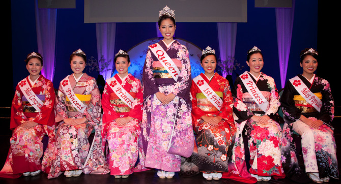 Left to right: Miss Congeniality Heather Smith, Princess Tomomi Ida, Princess Nicole Kinney, Queen Erin Morimoto, First Princess Edrea Katsunuma, Princess Cari Tasoe, and Miss Popularity Teri Nakakura.