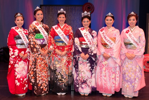 Princess Kimberly Fujinaka, Princess Cori Hanagami, 1st Princess Allison-Jae Hyun, Queen and Miss Popularity Marissa Machida, Princess Kimberlee Young and Miss Congeniality Andrea Hiura